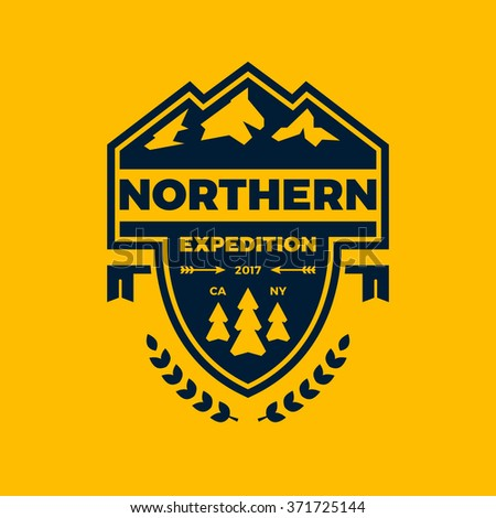 Mountain expedition banner logo badge with graphic accents - stock vector