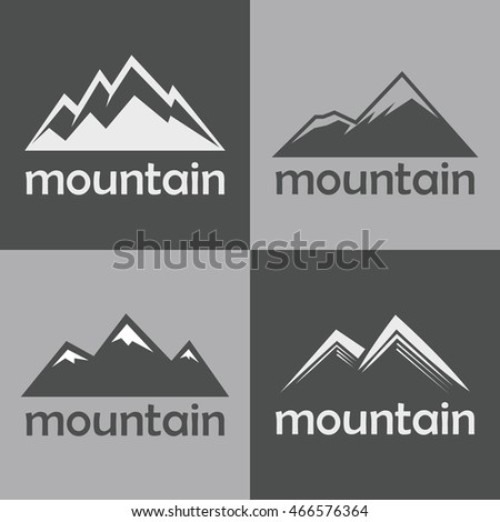 Mountain flat icons on gray background. Silhouette rock for sport logo. Vector illustration