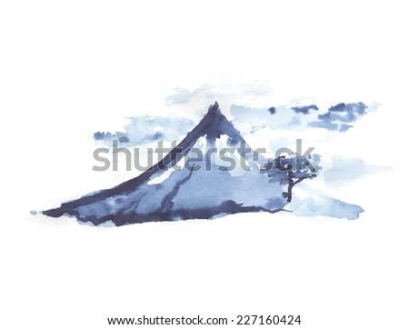 Mountain Fuji, volcano, japanese art, vector illustration - stock vector