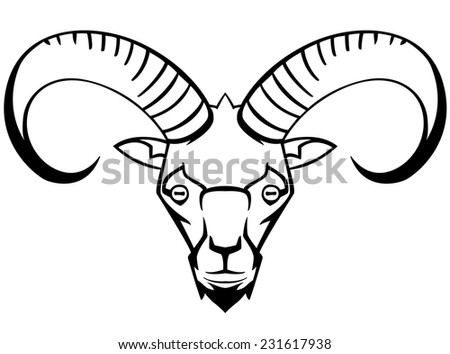 mountain goat - the symbol graphic stylization suitable for tattoos and logos and mascots vector black and white - stock vector