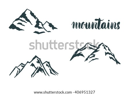 Mountain hand drawn hogo. Vector design element in vintage style for logotype, label,tag, badge and other. Mountain logo,  symbol, icon in retro style