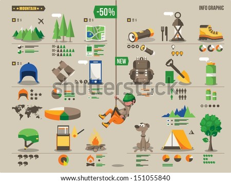 Mountain hiking and climbing vector info graphic - stock vector