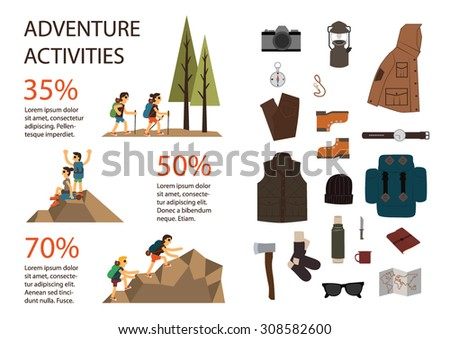Mountain hiking and climbing vector info graphic.Set of camping equipment.Two tourists with backpacks enjoying on top of a mountain - stock vector