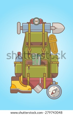 Mountain hiking backpack - stock vector