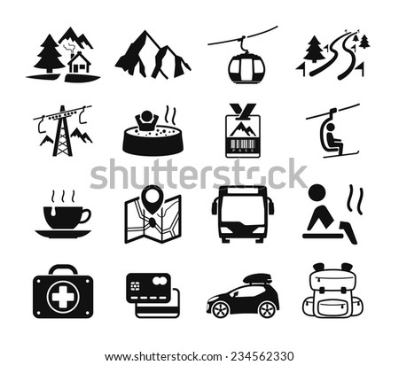 Mountain hotel icons - stock vector