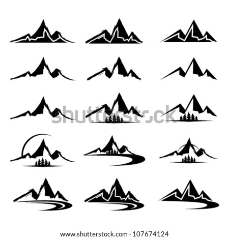 mountain icon clipart set - stock vector