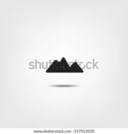 Mountain Icon - Flat Design - stock vector