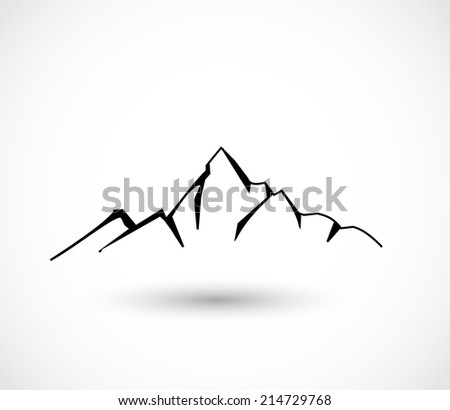 Mountain icon vector - stock vector