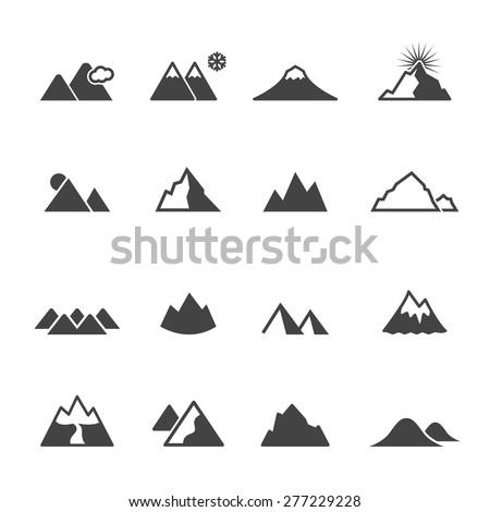 mountain icons, mono vector symbols - stock vector