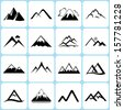 mountain icons set - stock vector