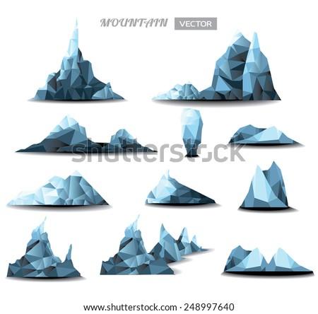 mountain Icons Set, mountain polygonal set background. vector illustration - stock vector