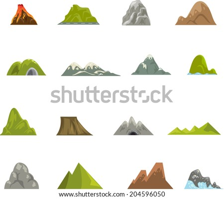 Mountain icons vector - stock vector
