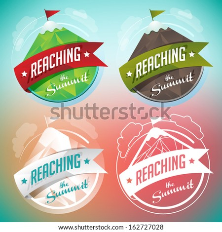 Mountain Insignia Badges Set - stock vector