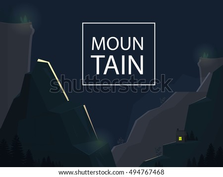 Mountain isolated. Vector illustration, eps10. Mountain nature landscape with trendy design on dark background. Motivation concept.