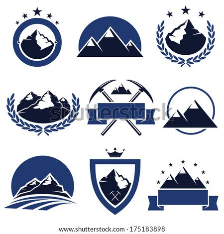 Mountain labels and icons set. Vector  - stock vector