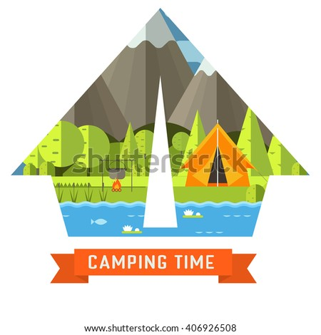 Mountain lake campsite place in tourist tent shape. Forest hiking travel landscape in concept contour. Summer camp postcard vector illustration. Love camping time adventure invitation isolated.  - stock vector