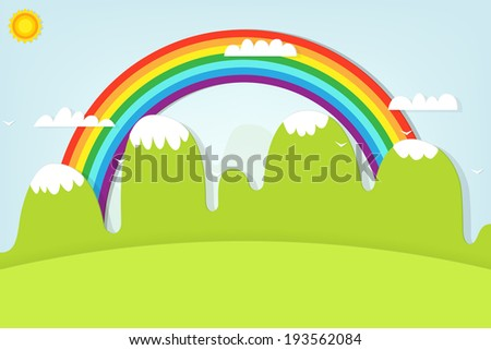mountain landscape and rainbow - stock vector