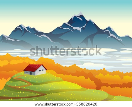 Mountain landscape at autumn morning. Natural vector illustration with house, orange forest, fog and green field.