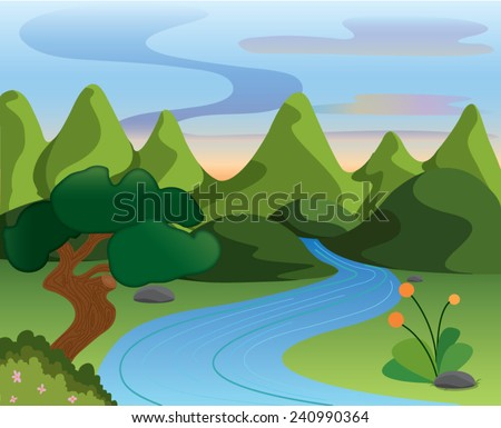 mountain landscape canal from waterfall with plant ,sunset colorful sky beautiful