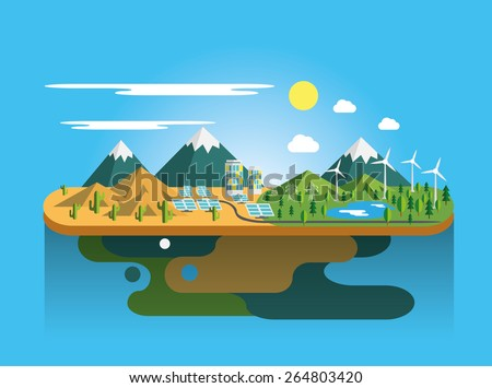 Mountain landscape Eco flat illustration  Vector eps10. - stock vector