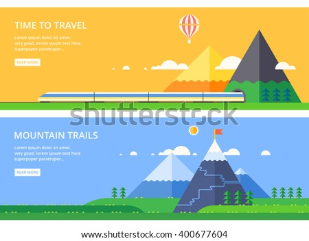 Mountain landscape. Express train. Mountain tunnel. Mountain Trail. Pure nature. - stock vector