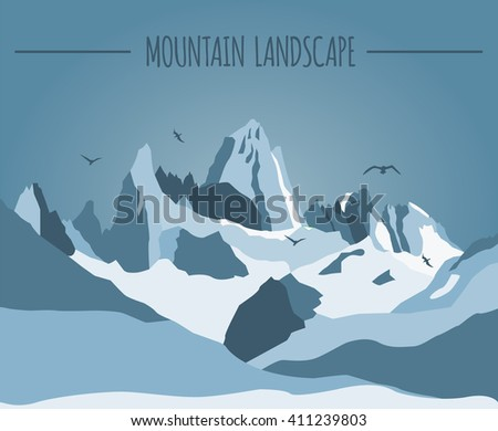 Mountain landscape graphic template. Vector illustration