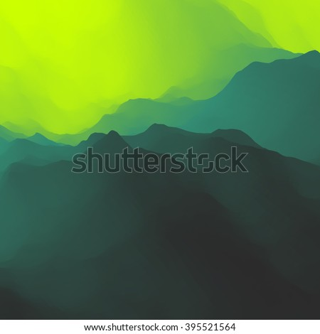 Mountain Landscape. Mountainous Terrain. Mountain Design. Vector Silhouettes Of Mountains Backgrounds. Sunset. Can Be Used For Banner, Flyer, Book Cover, Poster, Web Banners. - stock vector