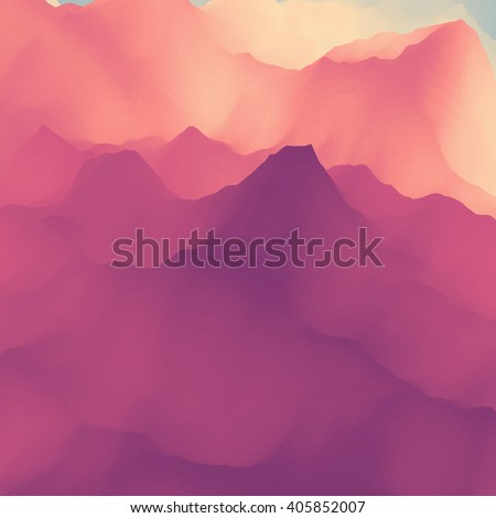 Mountain Landscape. Mountainous Terrain. Vector Silhouettes Of Mountains Backgrounds.