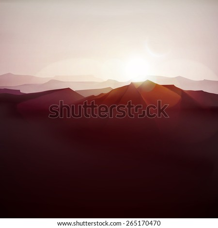 Mountain landscape, nature background, eps 10 - stock vector