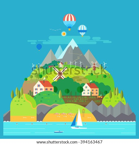 Mountain landscape. The hotel is in the mountains. Mountain Lake. Ballooning. Mountain Trail. Ecological holidays. Sailboat in the sea. The development of agriculture.