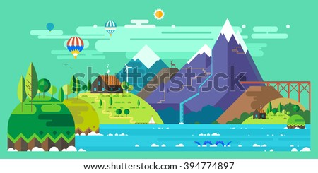 Mountain landscape. The hotel is in the mountains. Mountain Lake. Ballooning. The monster in the lake. Mountain Trail. Ecological holidays.