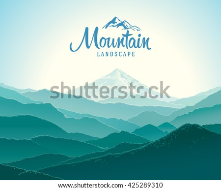 Mountain landscape, the silhouettes of the mountains against the dawn. And the elements of the logo.