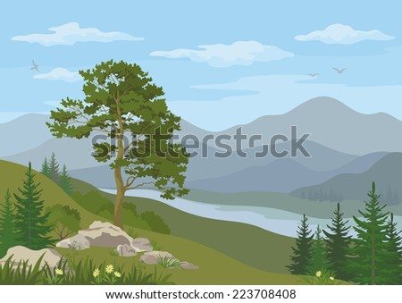 Mountain landscape with coniferous trees, river, flowers and blue cloudy sky. Vector - stock vector