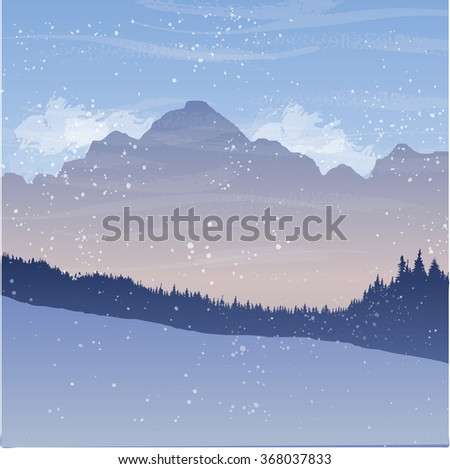 mountain landscape with fir trees and snow, forest background, hand drawn vector illustration