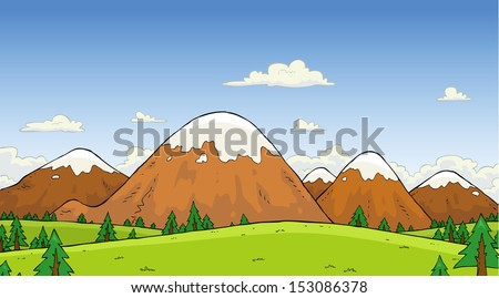 Mountain landscape with pine trees vector illustration - stock vector