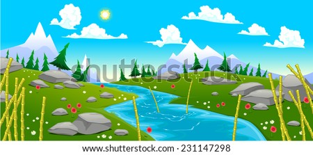 Mountain landscape with river. Cartoon and vector illustration - stock vector
