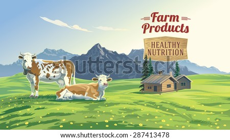 Mountain landscape with two cows and village in background. Vector illustration. - stock vector