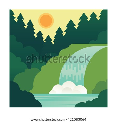Mountain landscape with waterfall.