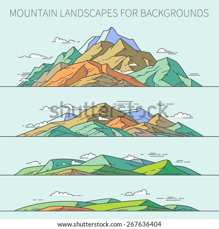 Mountain landscapes for backgrounds. Mountains can be combined into a single mountain range. It is the universal set. Just by changing the colors can easily change the mood of the picture. - stock vector