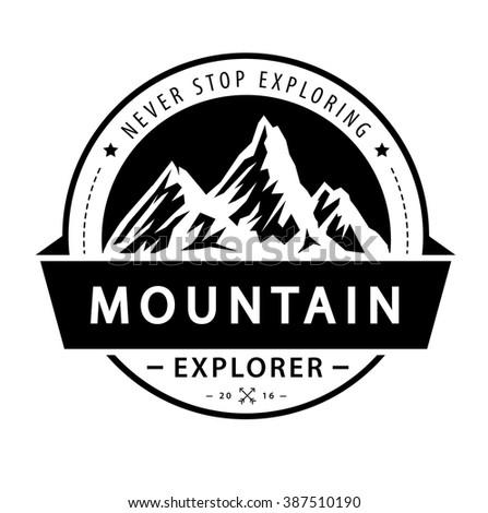 Mountain logo emblem. Adventure retro vector illustration. - stock vector