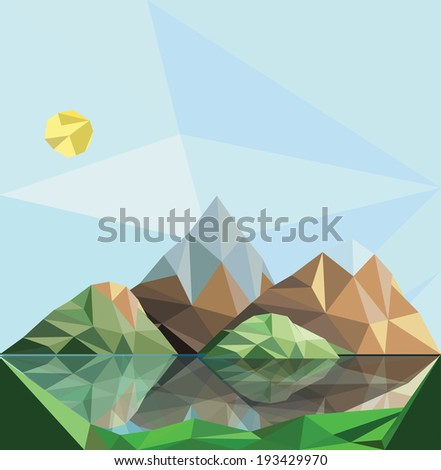 mountain low-poly style vector illustration - stock vector