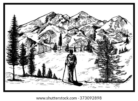 Mountain man with wild nature landscape hand drawn vector illustration