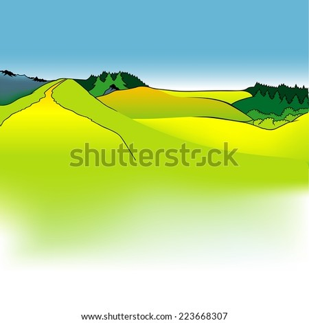 Mountain Meadows - Cartoon Background Illustration, Colored Vector