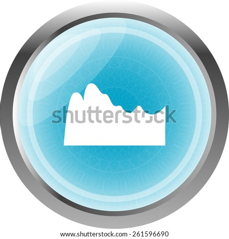 mountain on glossy web icon isolated on white background - stock vector