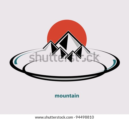 Mountain on the plate vector format - stock vector