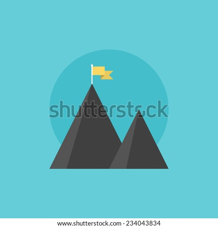 Mountain peak with flag as metaphor of businessman top performance, leadership achievement and success competition. Flat icon modern design style vector illustration concept. - stock vector