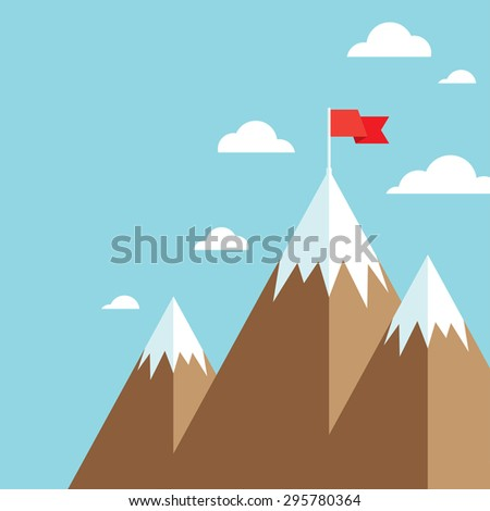 Mountain peak with flag as metaphor of businessman top performance, leadership achievement and success competition. Flat icon modern design style. - stock vector