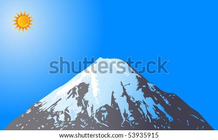 Mountain peak with Sun vector - stock vector