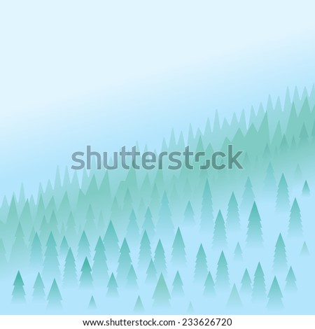 Mountain peaks covered firs in morning fog, aerial perspective, landscape background - stock vector