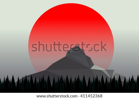 mountain pine trees and sun setting vector - stock vector